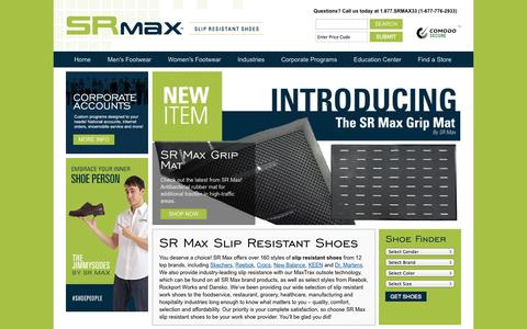 Screenshot of Home Page srmax.com - Slip Resistant Shoes - Work Shoes - Work Boots | SR Max - captured Oct. 3, 2014