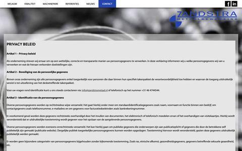 Screenshot of Privacy Page zandstrametaal.nl - Zandstra Metaalbewerking - captured Nov. 18, 2018