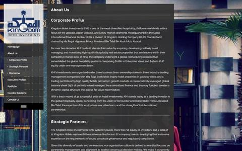 Screenshot of About Page kingdomhotels.com - About Us - Kingdom Hotel investments - captured Jan. 22, 2016