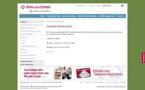 Screenshot of Support Page Hours Page bankozarks.com - Customer Service Center - Bank of the Ozarks - captured Oct. 23, 2014