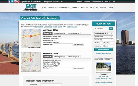 Screenshot of Contact Page Locations Page exitrealtyhr.com - Contact Exit Realty Professionals - captured Oct. 22, 2014