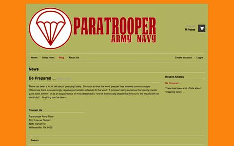 Screenshot of Press Page paratrooperarmynavy.com - News – Paratrooper Army Navy - captured Sept. 27, 2014