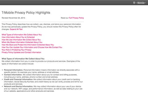 Screenshot of Privacy Page t-mobile.com - Privacy Policy & Personal Information | T-Mobile - captured Dec. 15, 2016