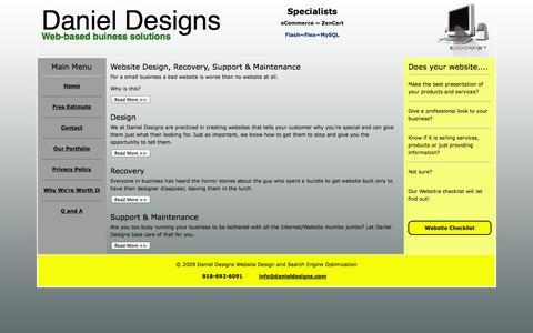 Screenshot of Home Page danieldesigns.com - Daniel Designs Websites for Main Street - captured Sept. 30, 2014