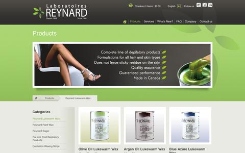 Screenshot of Products Page labreynard.com - Products | Laboratoires Reynard - captured Jan. 24, 2016