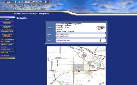 Screenshot of Contact Page executiveflightmgmt.com - Executive Flight Management - captured Nov. 14, 2016