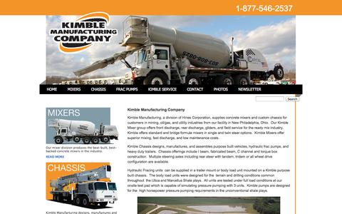 Screenshot of Home Page kimblemixer.com - Kimble Manufacturing Company - captured Oct. 6, 2014