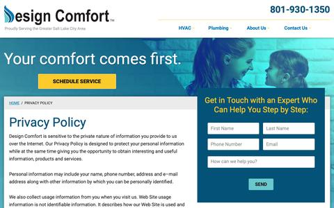Screenshot of Privacy Page designcomfortco.com - Privacy Policy | Design Comfort - captured Oct. 8, 2018