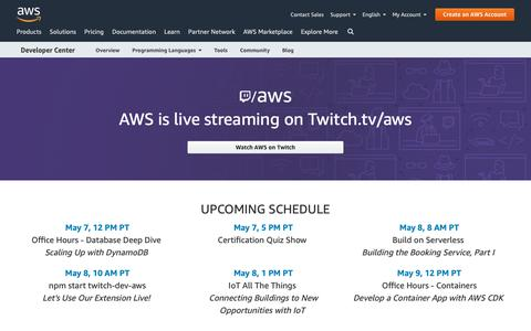 Screenshot of Developers Page amazon.com - Live Streaming on Twitch | AWS Developer Center - captured May 8, 2019