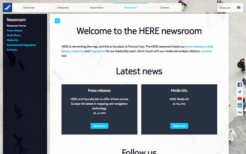 Screenshot of Press Page here.com - Newsroom - captured June 12, 2016