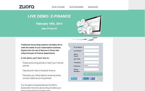 Screenshot of Landing Page zuora.com - Live Demo February 10th | Zuora - captured June 3, 2016