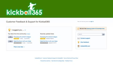 Screenshot of Contact Page uservoice.com - Customer Feedback & Support for Kickball365 - captured Sept. 17, 2014
