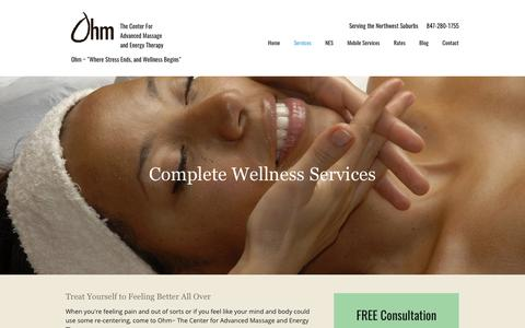 Screenshot of Services Page bringitohm.com - Wellness Therapies | Mind and Body Care | West Dundee, IL - captured Oct. 19, 2017