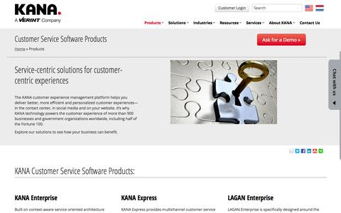 Screenshot of Products Page kana.com - Customer Service Software Products | KANA - captured Sept. 23, 2014