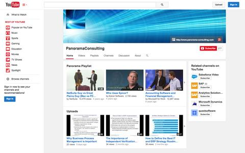 Screenshot of YouTube Page youtube.com - PanoramaConsulting  - YouTube - captured Oct. 22, 2014
