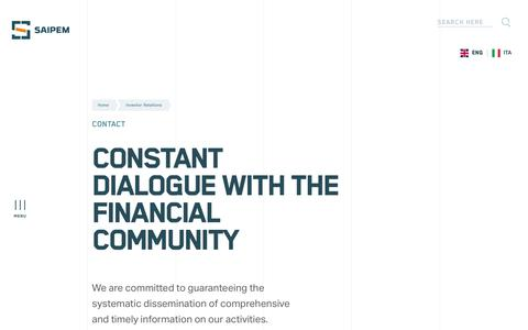 Screenshot of Contact Page saipem.com - Investor relations - Contact | Saipem - captured Nov. 18, 2019