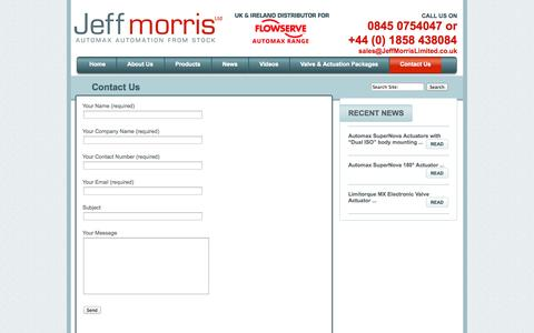 Screenshot of Contact Page jeffmorrislimited.co.uk - Contact Us | Jeff Morris Limited - captured Sept. 30, 2014