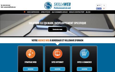 Screenshot of Home Page skill4web.com - Skill4web, Agence web Bordeaux & Villenave d'ornon : site web, application mobile - captured Sept. 21, 2015