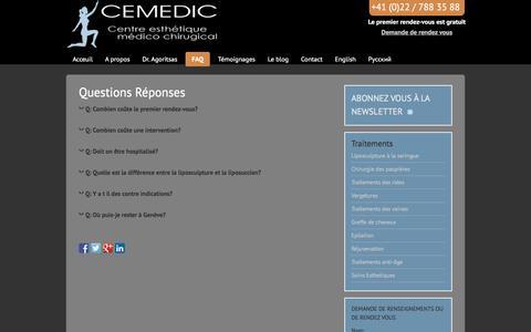 Screenshot of FAQ Page cemedic.ch - Questions Réponses - Médical dédié à l'Esthétique - Genève - captured March 8, 2016