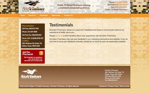 Screenshot of Testimonials Page nuvisionpharmacy.com - Testimonials - Dallas TX Retail Pharmacy | NuVision Pharmacy - captured Sept. 30, 2014