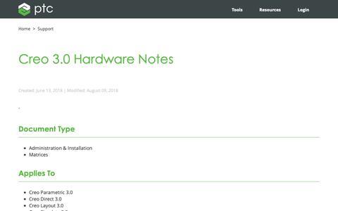 Screenshot of Support Page ptc.com - Creo 3.0 Hardware Notes | PTC - captured Nov. 13, 2018