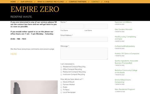 Screenshot of Contact Page squarespace.com - Contact — Empire Zero - captured Sept. 11, 2014