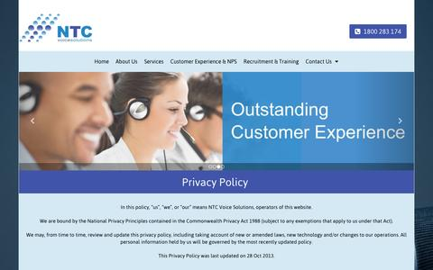 Screenshot of Privacy Page ntcvoice.com.au - Training Solutions | Melbourne | NTC VOICE SOLUTIONS - captured Feb. 16, 2016