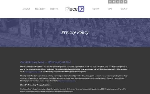 Screenshot of Privacy Page placeiq.com - Privacy Policy | PlaceIQ - captured Oct. 5, 2015