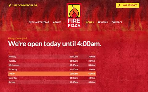 Screenshot of Hours Page firepizza.ca - Hours Đ Fire Pizza - captured Jan. 8, 2016
