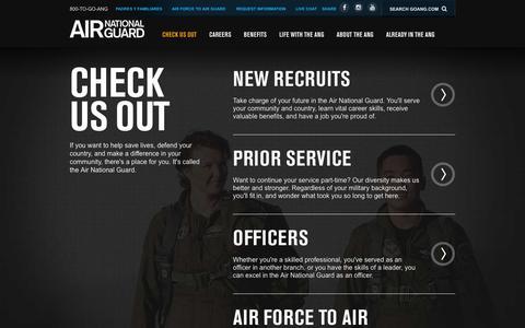 Screenshot of Signup Page goang.com - Check Us Out | Air National Guard - captured Feb. 2, 2016