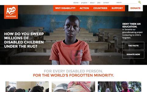 Screenshot of Home Page add.org.uk - ADD International - captured Oct. 4, 2014