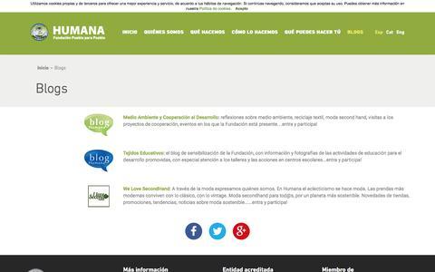 Screenshot of Blog humana-spain.org - HUMANA - Blogs - captured July 19, 2016