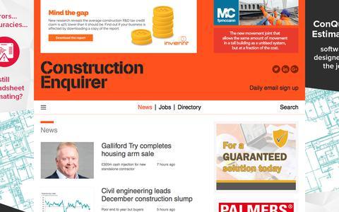 Screenshot of Press Page constructionenquirer.com - News    Construction Enquirer - captured Jan. 3, 2020