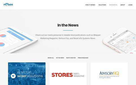 Screenshot of Press Page getmobee.com - Retail Audit & Intelligence Company Mobee In The News - captured Oct. 19, 2017