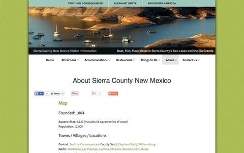 Screenshot of About Page sierracountynewmexico.info - About Sierra County: Oasis of the Southwest, Home of Spaceport America - captured Oct. 7, 2014