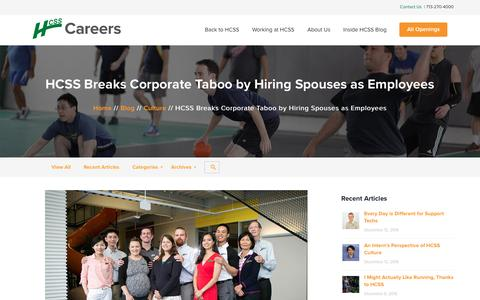 Screenshot of Jobs Page hcss.com - HCSS Breaks Corporate Taboo by Hiring Spouses as Employees - HCSS Careers - captured Jan. 20, 2017