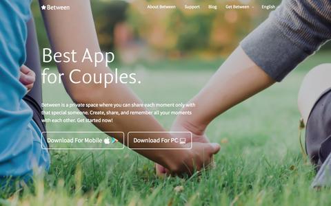 Screenshot of Home Page between.us - Between - Best App for Couples - captured June 17, 2015