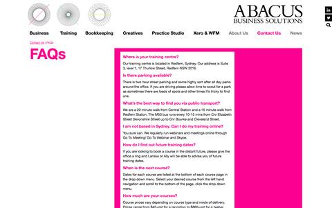 Screenshot of FAQ Page abacussolutions.com.au - FAQs | Abacus Business Solutions - captured Nov. 2, 2014