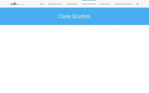 Screenshot of Case Studies Page inspire.com - Case Studies - Inspire's Research Offerings on Health Care - captured May 11, 2019