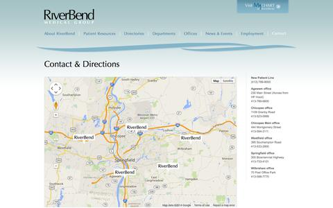 Screenshot of Contact Page Maps & Directions Page riverbendmedical.com - RiverBend Medical Group  > Contact & Directions - captured Oct. 25, 2014