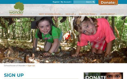 Screenshot of Signup Page schoolhouseofwonder.org - Sign Up   Schoolhouse of Wonder - captured Nov. 6, 2018