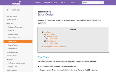 Screenshot of marketo.com - Error Codes - Marketo Developers - captured June 8, 2017