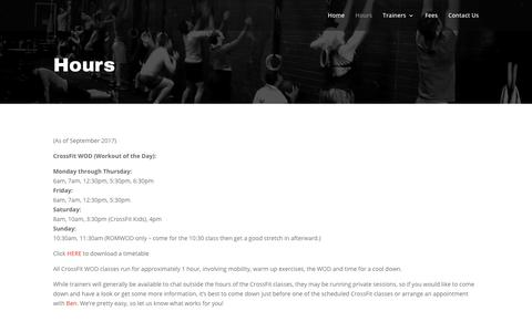 Screenshot of Hours Page crossfitsouthyarra.com - Hours   CrossFit South Yarra - captured Oct. 21, 2018