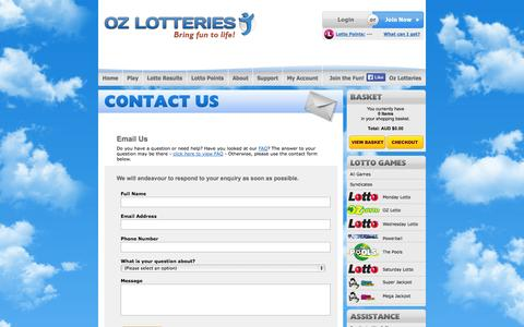 Screenshot of Contact Page ozlotteries.com - Contact Oz Lotteries - captured Oct. 26, 2014