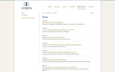 Screenshot of Press Page cobepa.be - News | Cobepa - captured Sept. 30, 2014