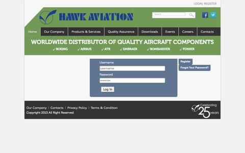 Screenshot of Login Page hawkaviation.com - Login | http://www.hawkaviation.com/ - captured Oct. 1, 2014