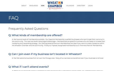 Screenshot of FAQ Page wheatonchamber.com - FAQ - Wheaton Chamber of Commerce - captured Oct. 12, 2019