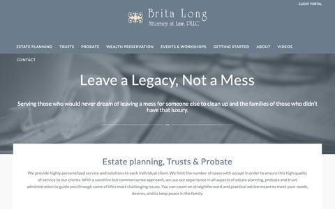 Screenshot of Home Page britalong.com - Estate Planning, Probate & Trust Administration | Brita Long, Attorney - captured Oct. 6, 2018