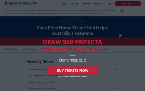 Screenshot of FAQ Page rslartunion.com.au - RSL Art Union | Prize Home lotteries | Frequently Asked Questions (FAQ) - captured Nov. 1, 2018