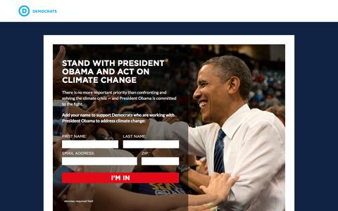 Screenshot of Landing Page democrats.org - my.democrats.org  |  Stand with President Obama on Climate Change - captured Aug. 19, 2016